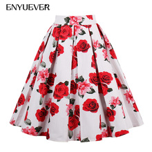 Buy Enyuever Summer Skirts Womens 2018 Floral Print Rockabilly Retro Party Jupe Korean Vintage High Waist Midi Skirt Women Clothing for $18.99 in AliExpress store