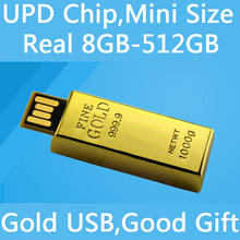 100% Real Capacity 8GB 16GB 32GB Gold Bar Usb 2.0 Flash Drive 64GB 128GB 256GB Flash Card Memory Stick Pendrive 512GB Mini Key