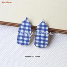 "(100pcs/lot) 30mm Baby Shower Baby Bottle Crafts-Blue Checked  Fabric Topper Wood Back Bulk 1.2""-CT1226B"