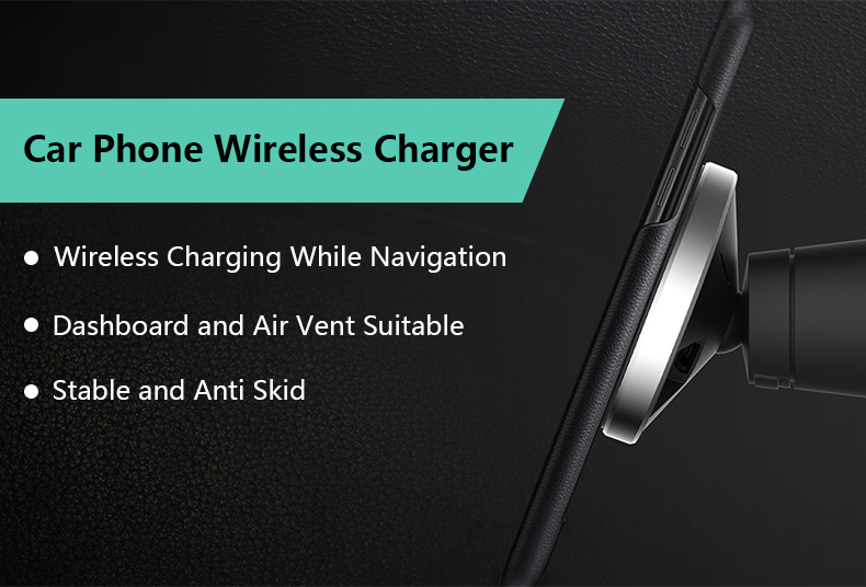 360 Degree Rotation Car Phone Wireless Charger For Samsung S8 S8 Plus S7 Edge Dashboard Wireless Charger Stands Air Vent Holder (2)