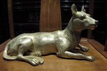 free shipping Chinese Royal purple Bronze Copper 24K Gold Gilt Crane Wolfhound wolf dog Statue(China)