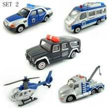 BOHS Mini Metal Alloy Blue Police Force Patrol Wagon Truck Helicopter Diecast Toys for Kids Size=8.5cm(China)