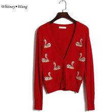 WHITNEY WANG Newest 2017 Spring Fashion swan sequins Knitted Cardigans Women Elegant Button Sweaters jumper