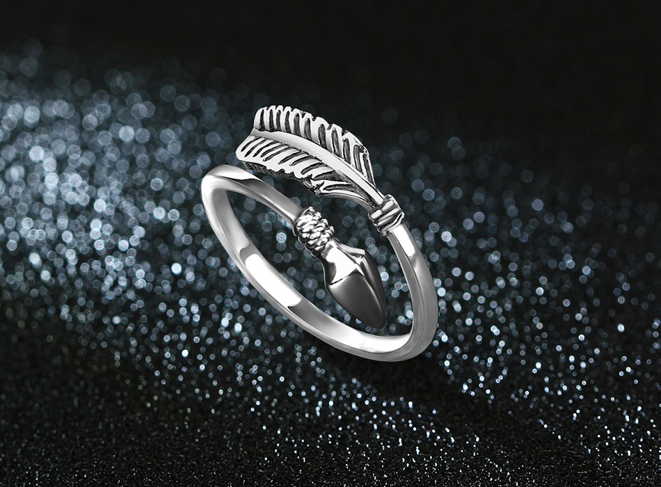Lovely Resizable Sterling Silver Cupid Arrow Ring