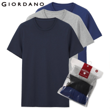 Giordano Mens Tee Clothing Short-Sleeves Homme Vetement Cotton Solid Summer Sous 3-Pack