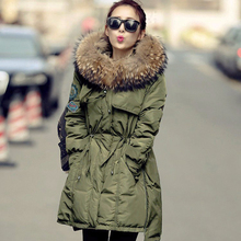 Winter Jacket Women 2016 Brand Parka Real Big Raccoon Fur Collar Army Green Goose down Jacket Slim Thicken Warm Parkas DHL Free