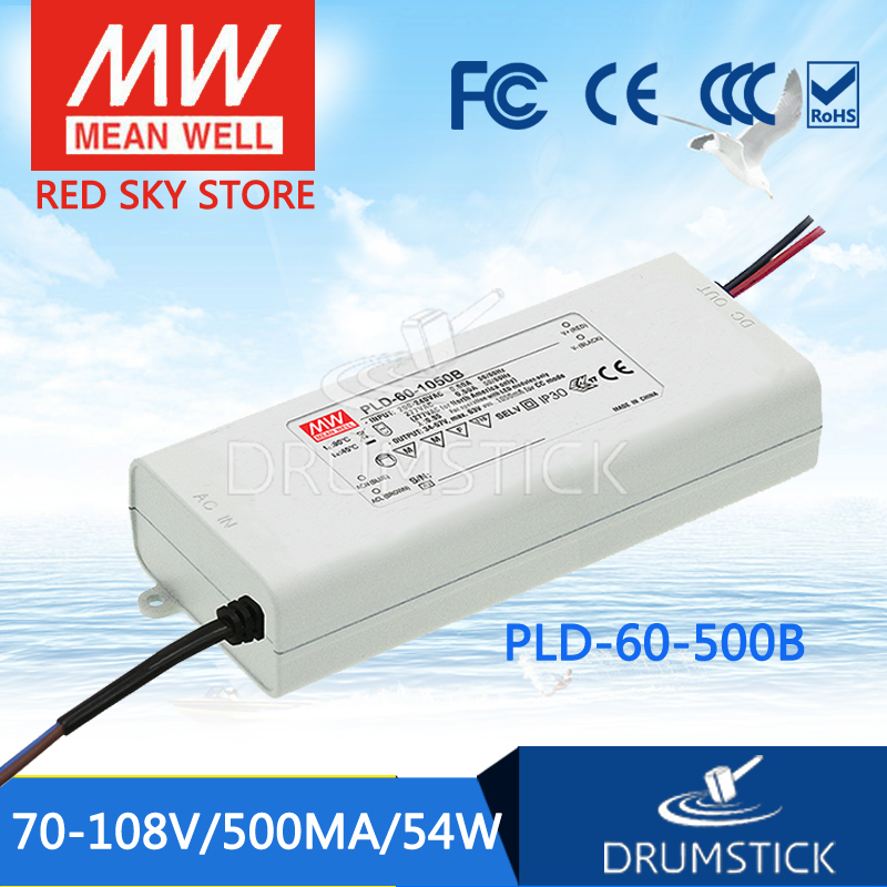100% Original MEAN WELL PLD-60-500B 108V 500mA meanwell PLD-60 108V 54W Single Output LED Switching Power Supply [Real1]<br>