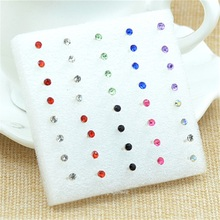 Wholesale 20Pairs /pack Fashion Multicolor Round Rhinestone Crystal Plastic Hypoallergenic Stud Earrings Women Girls    E-359