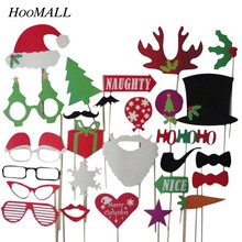 Hoomall 27PCs Christmas Ornaments Photo Booth Props Photobooth Favor Funny Glasses Mustache Navidad Birthday Party Supplies