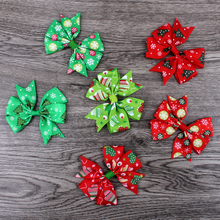 "120pcs/lot 3"" Dovetail Grosgrain Floral Ribbon Bows with Clip Kids Girls Organza Hair Bows For Christmas Day Hair Accessories(China)"