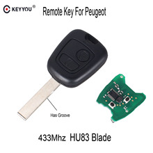 KEYYOU Car remote control Key 2 Buttons 433Mhz For PEUGEOT 207 307 Car Keyless Fob PCF7961 Chip HU83 Blade