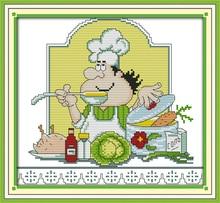 Юмор шеф-повар Кухня вышивки крестом Счетный крест Наборы для Вышивка рукоделие Вышивка Крестом Картины Домашний Декор крестом DMC Нитки(China)
