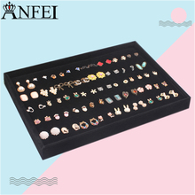 Anfei Black Jewelry Display Ring Tray Stud Earring Plate Jewelry Organizer Showcase Ring Earrings Shelf Ear Stud Case A185-2(China)