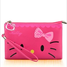 Cute Hello Kitty Small Women Handbags Waterproof Tote Bag Lady Wallet Clutches With Rope 3 Colors Available 2017(China)