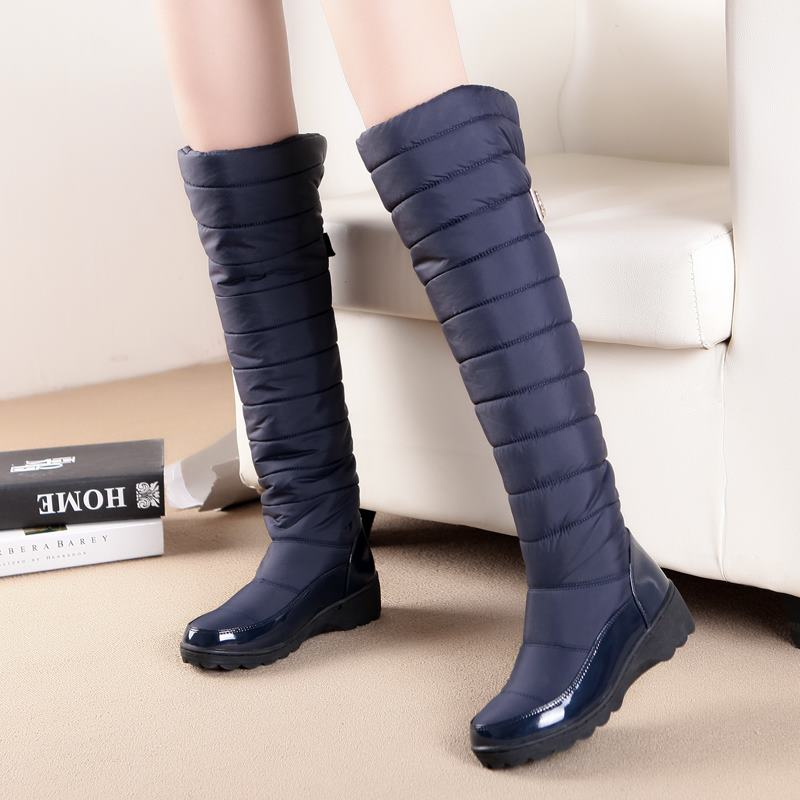 MORAZORA women boots high quality keep warm down knee high snow boots patent leather winter shoes woman blue black <br>