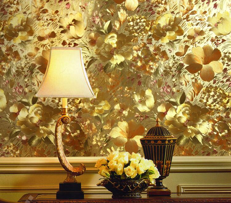 Luxury 3d Metallic Wallpaper Gold Foil Wallpaper For Living Room Entrance Study Walls 3 d Golden Flower Texture Wall Paper Roll<br>