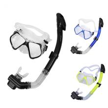 Full Dry Adult Tempered Glass Lens Swimming Scuba Diving Mask with Silicone Mouthpiece For Snorkeling Swimming(China)