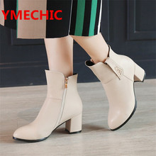 YMECHIC Fashion Ladies Boots White Black Beige Thick Heels High Womens Shoes Winter Autumn Concise Female Ankle Boots AK-2