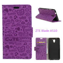 "For ZTE Blade A510 Case 5.0"" Cartoon Wallet Style Protective Cover with Card Holder For ZTE Blade A510 A 510 Mobile Phone Case(China)"