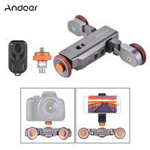 Andoer L4 Auto Dolly w/Wireless Remote Control Electric Motorized 3-Wheel Pulley Car Slider Rolling Skater for DSLR Phone