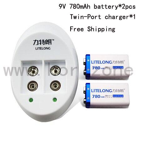 2X Battery +Charger Free Shipping  9V Battery  nine-volt Li-ion 780mAh 6F22 006P 6KR61 6HR61<br>