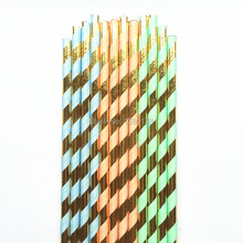 Metallic Gold and Mint Green/Blue/Coral Striped Paper Drinking Straws for Christmas Event Party Suplies,Mason Jar Decor