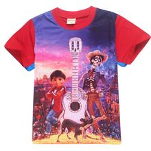 fe12543cf Summer Beach Children Baby Boys Cartoon Clothes Kids Character Short Sleeve Shirts  Coco Printed Clothing Sets Child Sport Suits