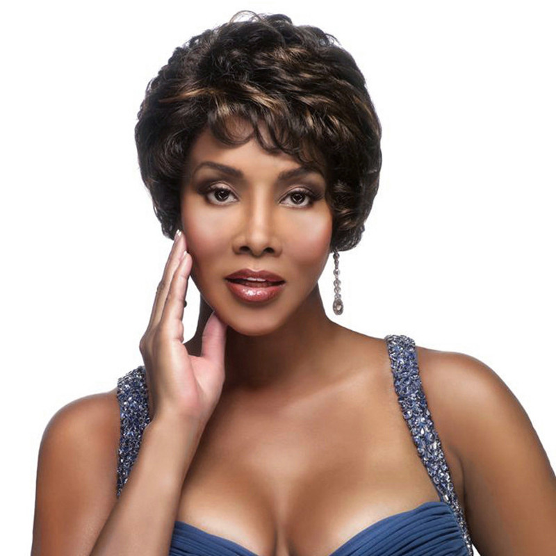 Short  Wig HairStyles Black And Brown Color Highlight  Natural Kinky curly Short Wigs Synthetic Hair For Black Women + Wig Cap <br><br>Aliexpress