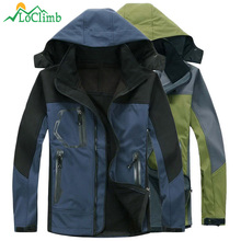 LoClimb Softshell Waterproof Camping Hiking Jacket Men Trekking Mountain Climbing Coat Winter Warm Fleece Ski Jackets,AM037(China)
