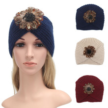 2016 New Brand fashion Solid Winter hat big flower pattern Womens Warm Knit Crochet Ski Hat Braided  Turban Headdress Cap