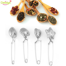 Delidge 1 pc Different Shapes Tea Strainer Stainless Steel Sphere Stars Shell Shape Handle Tea Mesh Ball Filter Drinkware Tool(China)