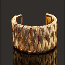 F&U Fashion Punky Style Hollow Cuff Retro Braid Gold Bangles For Women Charm vintage Multilayer Wide Bracelet#B422--B431