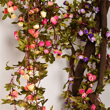 220cm Fake Silk Roses Ivy Vine Artificial Flowers With Green Leaves For Home Wedding Decoration Hanging Garland Decor(China)