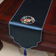 200*33cm Noble Chinese Vintage Embroidered Silk Beautiful dark blue Table Runner Cloth& Bed Flag(China)