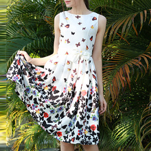 Buy Summer Dress 2018 Women Vintage Sleeveless Butterfly womens clothing Elegant ladies Floral print Casual Party Dresses for $12.62 in AliExpress store