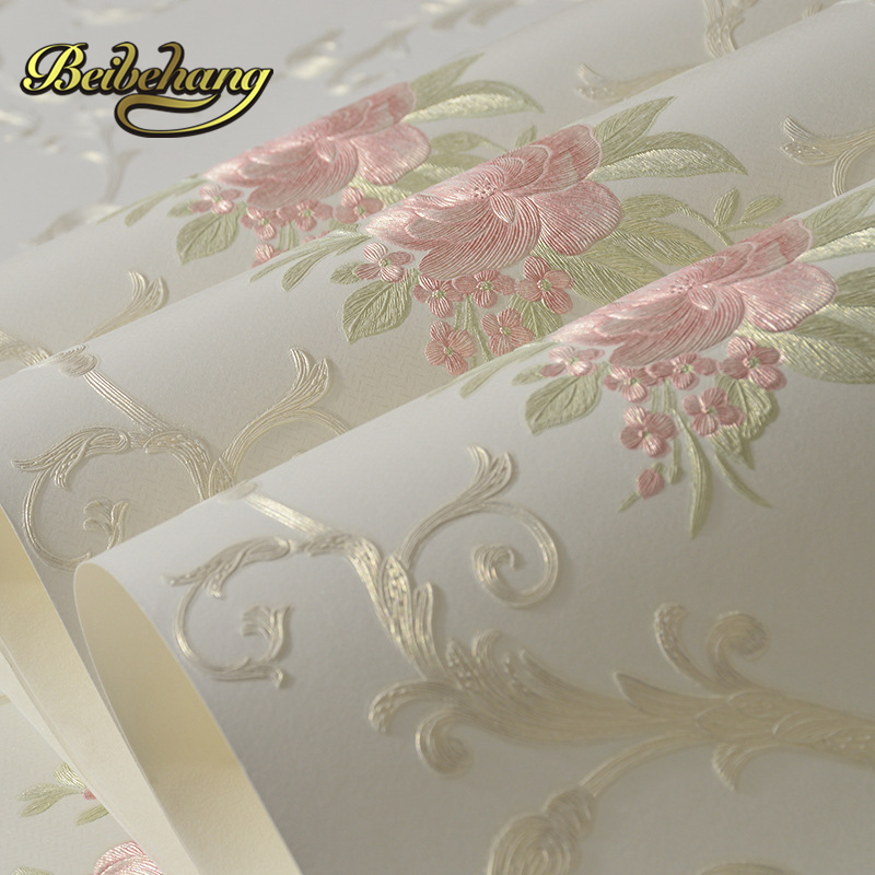 beibehang wall paper Warm living room bedroom full shop nonwoven coining stereoscopic 3d pastoral wallpaper papel de parede<br>