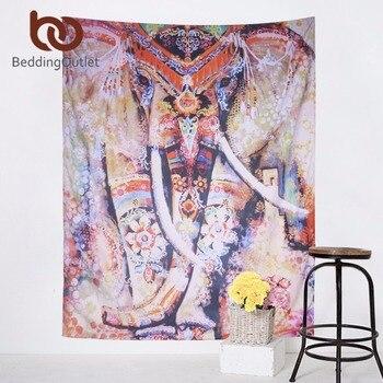 BeddingOutlet Colored Elepahant Tapestry Indian Style Boho Tapestry Wall Hanging 130cmx150cm 153cmx203cm Art Carpet