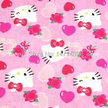 hk065 - 1 Yard Cotton Woven Fabric - Sanrio Cartoon Characters, Hello Kitty, Heart-shaped Lace, Red Heart, Rose - Pink (W105)