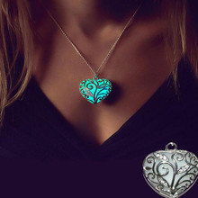 SHUANGR  Luminous Vintage Hollow Heart Pendants & Necklace Glow In The Dark Pendant Necklaces Tree Leaf collares For Girls Women