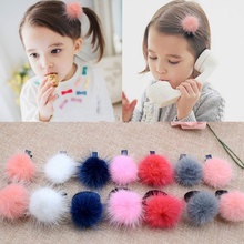 M MISM Girl Cute Hairball Hairpins Lovely Colorful Hairgrips Kids Accessories New Arrival Hair Clips Headwear Best Gift To Kids