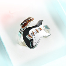LUFANG 2017 Fashion Jewelry Couple Napkin Guitar Wedding Rings For Men Girl Black Punk Rock Music Wholesale Cute Ring Women(China)