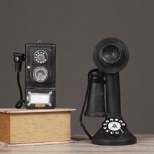 Resin Telephone Figurine Craft Home Party Table Display Decoration Vintage Resin Landline Figurine Craft Gift Home Decoration(China)
