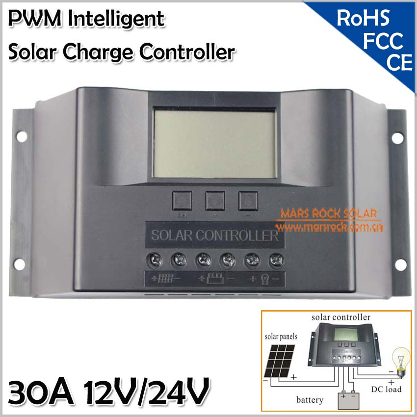 12V/24V 30A Solar Charge Controller Regulator with LCD Display, Automatic Identification System Voltage,Controlador De Carga 30A<br>