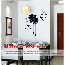 Innovative fashion new fashion personality black wall post clock butterfly stickers planar ceramic tile stick