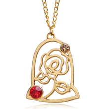 5 pc/lot Movie Beauty and the Beast necklece pendant Gold Rose jewelry Factory direct sale(China)