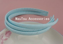10PCS 10mm Light Blue Grosgrain Ribbon Wrapped Plain Plastic Headbands no teeth handmade kids Hair Accessories(China)