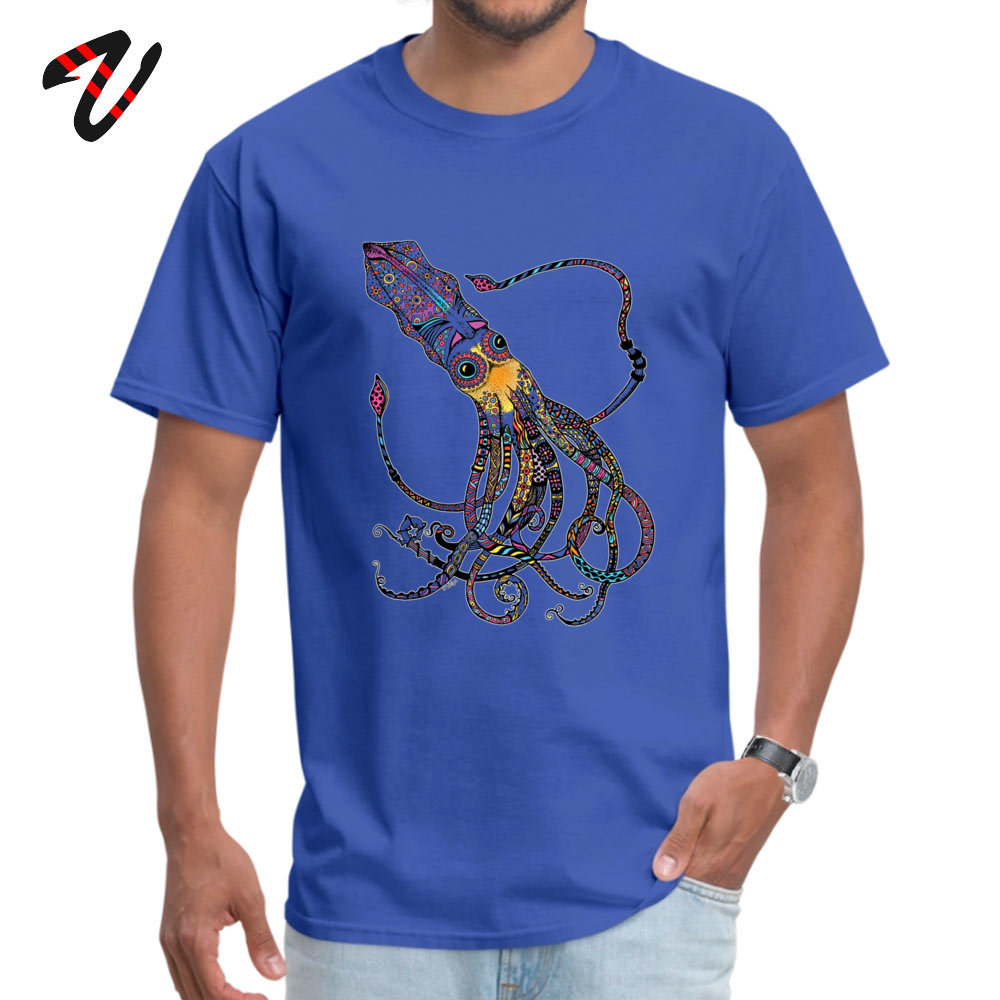 On Sale Men T-Shirt Crew Neck Short Sleeve 100% Cotton Electric Squid Tops T Shirt Design Tees Top Quality Electric Squid 297 blue
