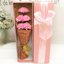 5pc/box Soap Flower Gift Box Artificial Flower Carnation Gift For Valentine's Day Mother's Day Birthday New Year Wedding Decor