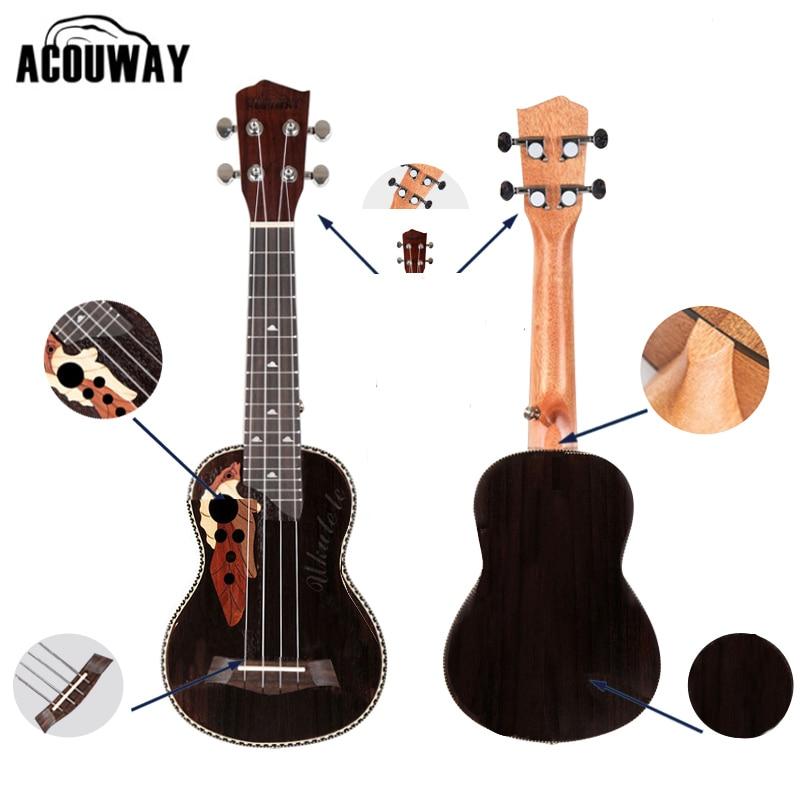Acouway Ukulele Soprano Concert Ukulele 21 23 rosewood uku Ukelele with Aquila String mini Hawaii guitar Musical Instruments<br>