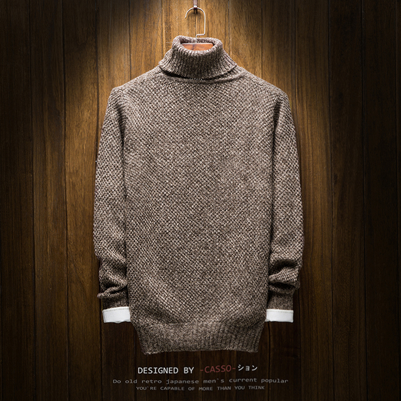 Young Men Long-sleeved Turtleneck Sweater Warm and Comfortable Mens Autumn and Winter Casual Knit Sweaters